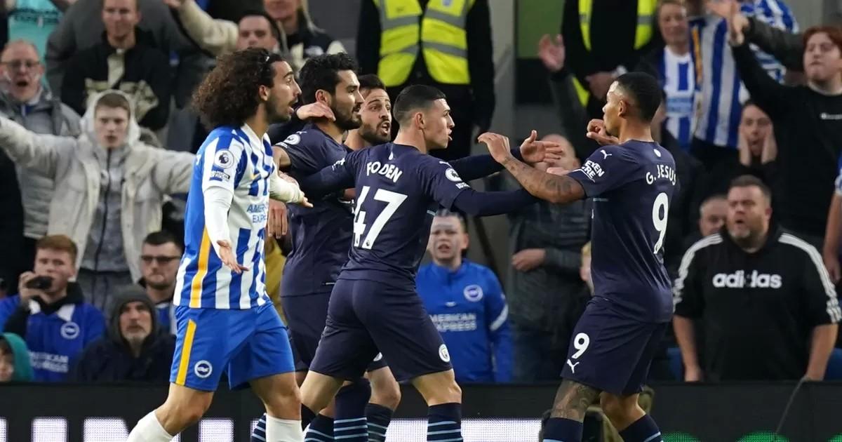 Brighton 1-4 Man City: Foden brace in first half blitz